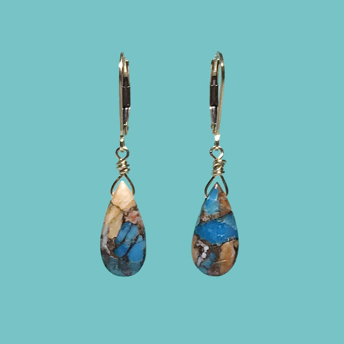 [SURF JEWELLERY] Oyster Copper Turquoise Drop (3-5-C)