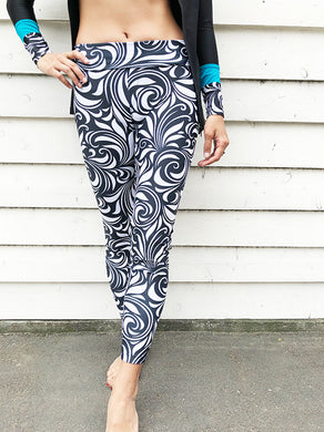 [ĀKĀSHA] High-Waist Water Leggings (Black Wave)