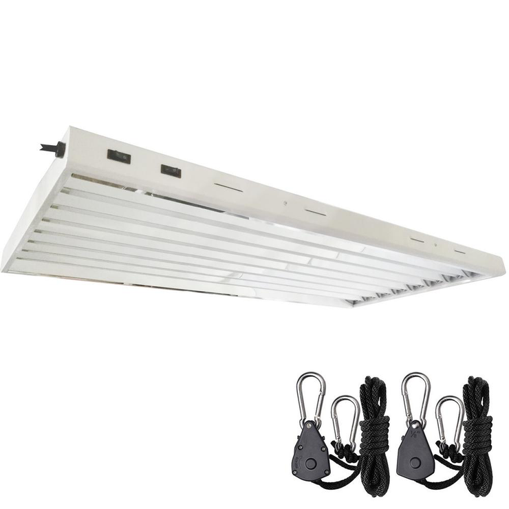 4 ft. 8-Bulb 432-Watt T5 High Output Fluorescent Grow Light Fixture