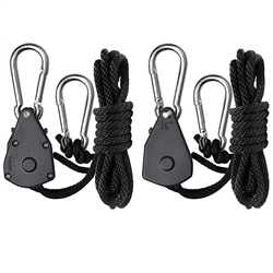 Hydro Crunch 1/8 Inch Heavy Duty Ratchet Hanger Adjustable Grow Light Rope Clip Carabiner Light Hanger Pair