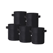 Hydro Crunch 8 in. x 8 in. 2-Gal. Breathable Fabric Pot Bags with Handles, Black Felt Grow Pot (5-Pack)