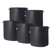 Hydro Crunch 15.25 in. x 19 in. 20 Gal. Breathable Fabric Pot Bags with Handles Black Felt Grow Pot (5-Pack)
