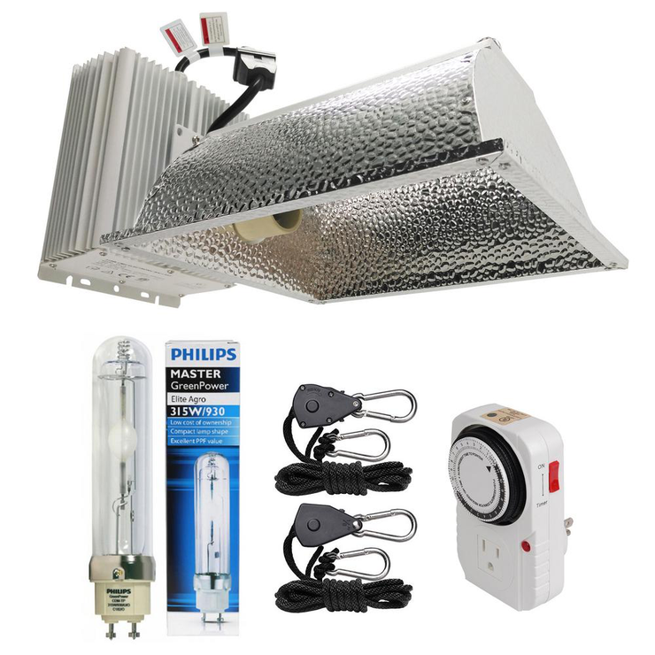 315-Watt Ceramic Metal Halide CMH Enclosed Style Complete Grow Light System with Philips Full Spectrum 315W 3100K Lamp