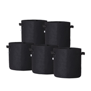 Hydro Crunch 13 in. x 12 in. 7-Gal. Breathable Fabric Pot Bags with Handles, Black Felt Grow Pot (5-Pack