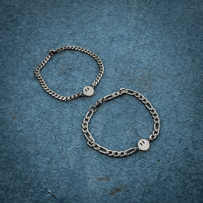 Double-Sided Smiley Bracelet Curb / Silver