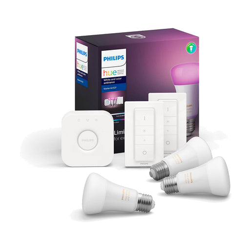 Kit Philips Hue Bridge + 3 Ampolletas Color BT + 2 Dimmer