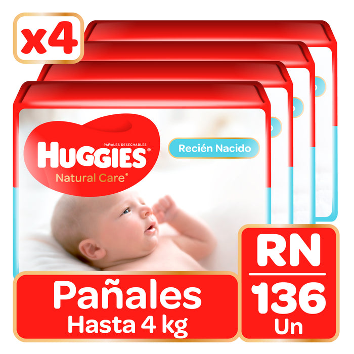 Pañales Huggies Natural Care Recien Nacido (RN)(4x34)(136u)
