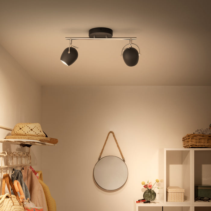 Aplique de Techo Philips Rivano LED 2x4.3W Negro