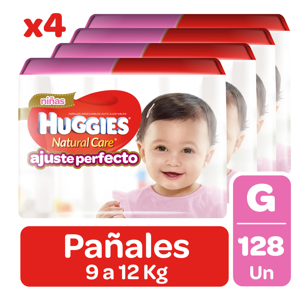128 Pañales Pants Huggies Natural Care G Niña Auto Ajuste