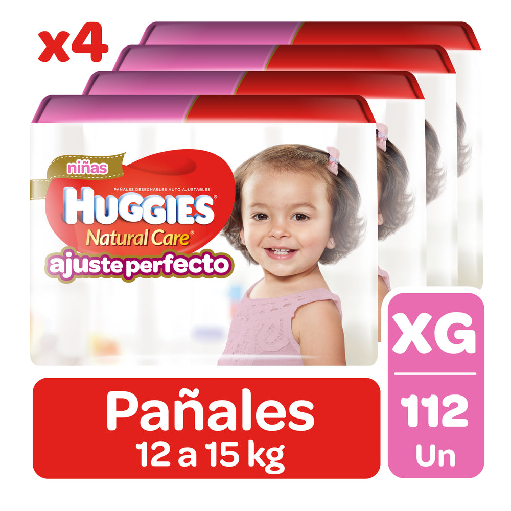 112 Pañales Pants Huggies Natural Care XG Niña Auto Ajuste