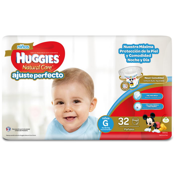 128 Pañales Pants Huggies Natural Care G Niño Auto Ajuste
