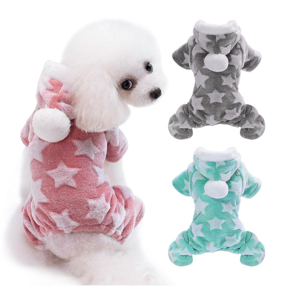 Fleece Dog Onesie Pijama com Pom-Pom Hood - Shop & Dog