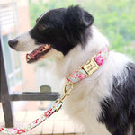 Floral Print Matching Leash And Collar Set With Personalised ID Buckle - Shop & Dog
