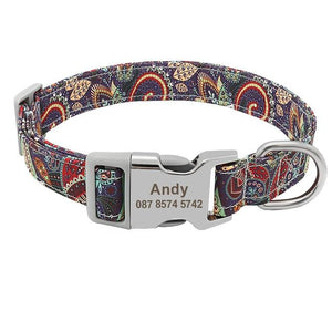 Geometric Print Dog Collar With Engraved Metal Buckle - Shop & Dog