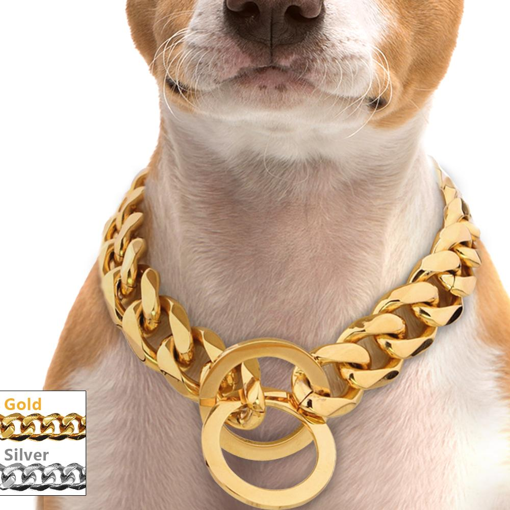 Gold / Silver Stainless Steel Chain Collar-Shop & Dog