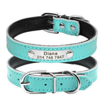 Seafoam blue leather dog collar