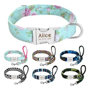 Trendy print matching leash and collar set