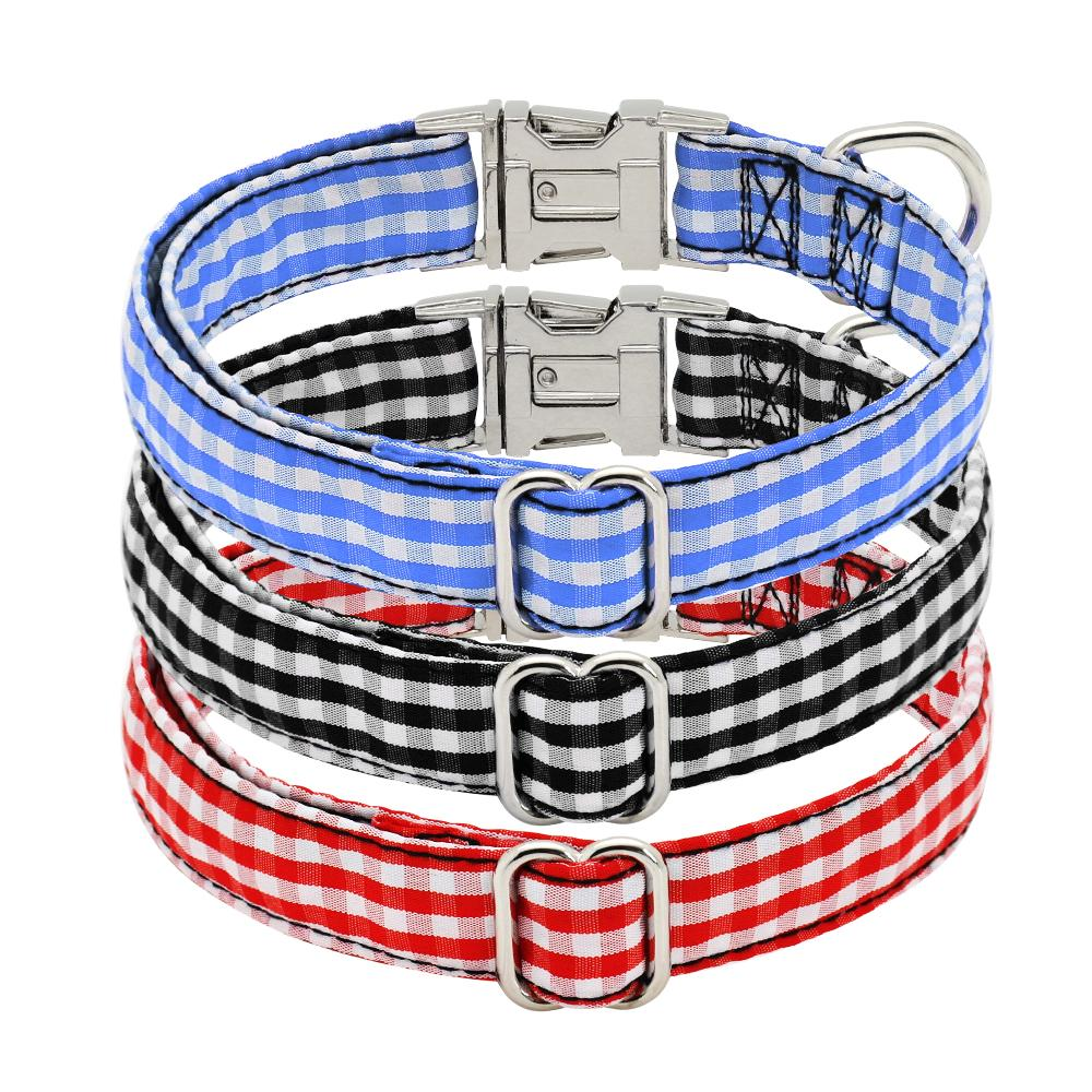 Plaid Gingham Print Dog Collar Com ID Personalizado Buckle-Shop & Dog