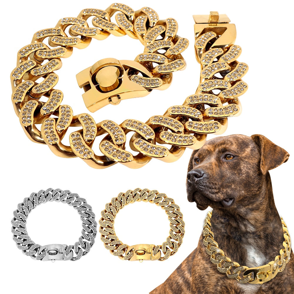 Silver / Gold Cuban Link Dog Collar