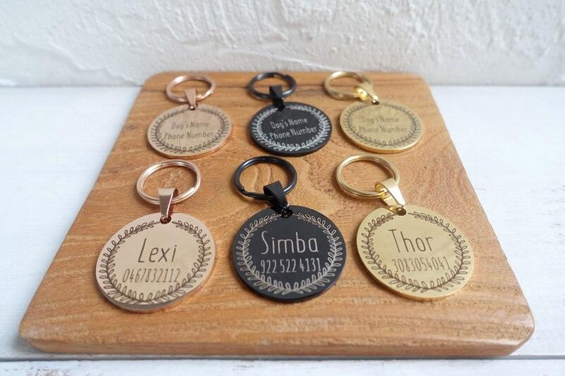 Rattan Round Dog Name Tags - Shop & Dog