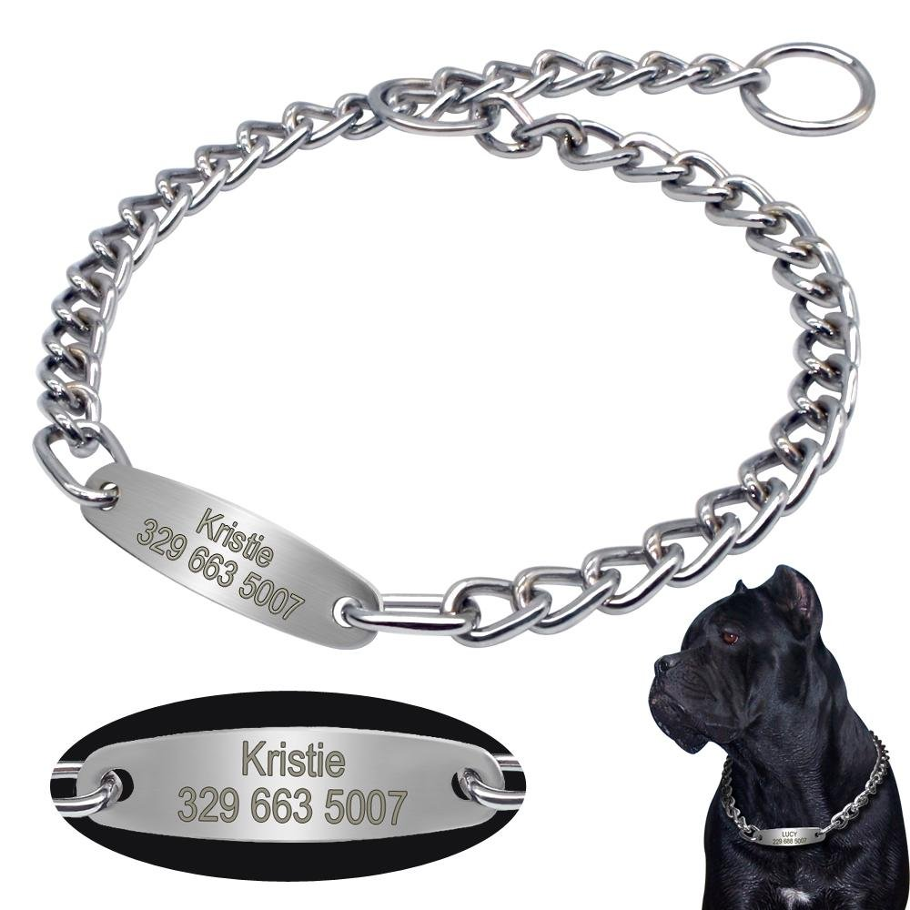 Silver Slip Chain Collar With Personalised Nameplate - Shop & Dog