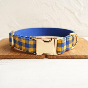 The Blue Yellow Plaid Personalised Dog Collar - Shop & Dog