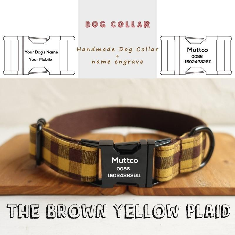 The Brown Yellow Plaid Personalised Dog Collar - Shop & Dog