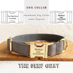 The Deep Gray Plaid Personalised Dog Collar - Shop & Dog