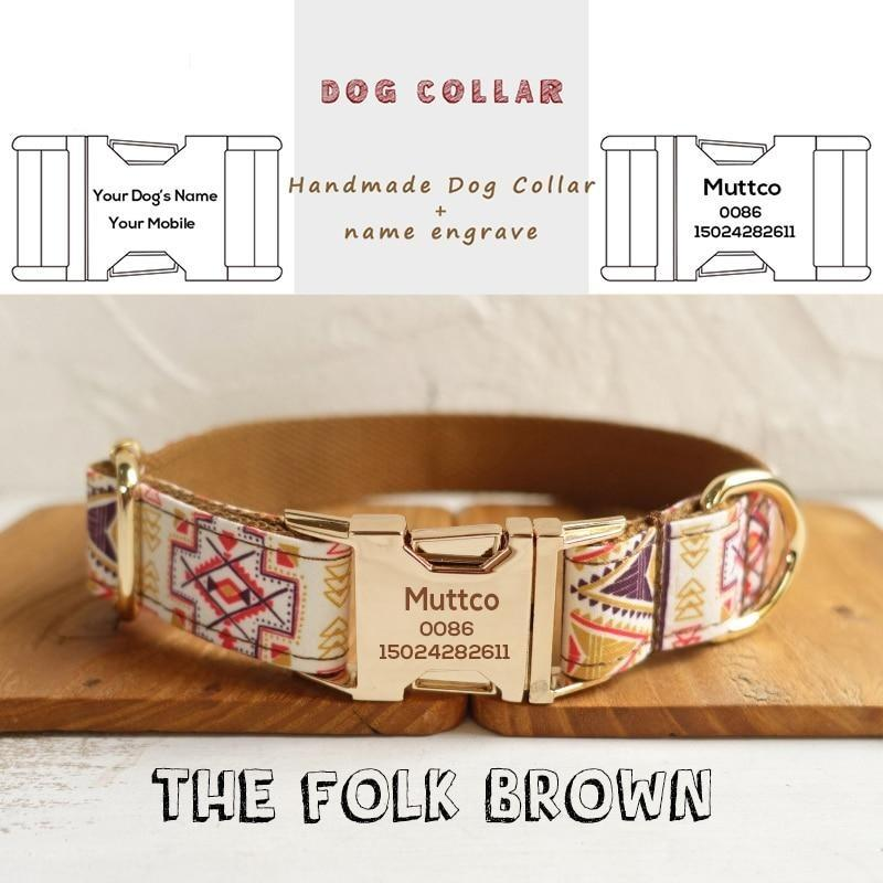 The Folk Brown Personalised Dog Collar - Shop & Dog