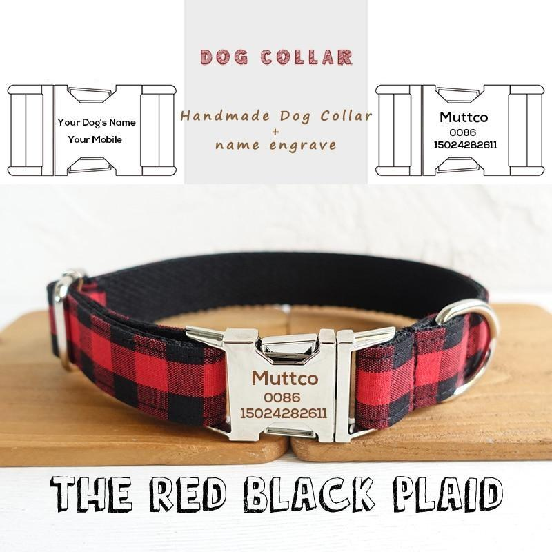 The Red Black Plaid Personalised Dog Collar - Shop & Dog