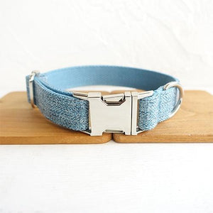 The Sky Blue Suit Personalised Dog Collar - Shop & Dog