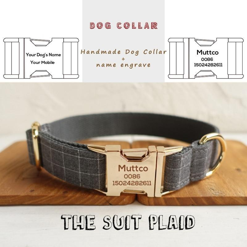 The Suit Plaid Personalised Dog Collar - Shop & Dog