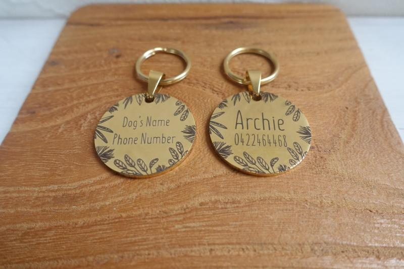 Tropical Leafage Round Dog Name Tags - Shop & Dog