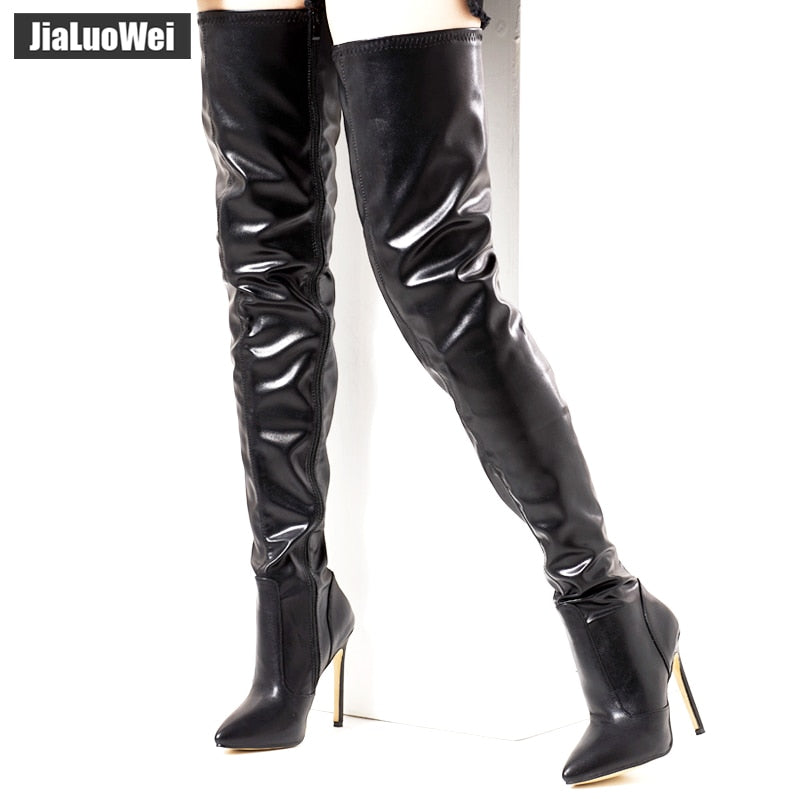 new style a603a cb5fe V. - Zip Up Thigh High Stiletto Boots