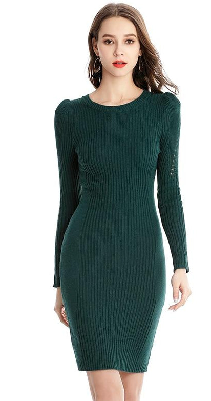 99e75e1005 Click to enlarge. Home GOPLUS Fashion Spring knitted Sweater Dress women  2019 O-Neck Long Sleeve ...