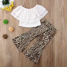 Load image into Gallery viewer, Lace Ruffles T-shirt W/Leopard Flared Bell Pants Set