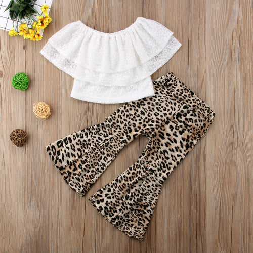 Lace Ruffles T-shirt W/Leopard Flared Bell Pants Set