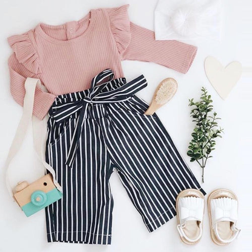 Ruffle Long Sleeve+Stripe Long Pants Set