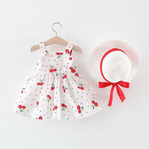 Cherry Dot Princess Dresse W/Hat