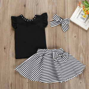Stripe Bow-knot Skirt Set
