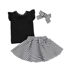 Load image into Gallery viewer, Stripe Bow-knot Skirt Set