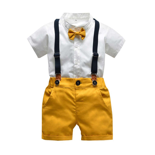 Gentleman Bow Tie Overalls Suit Set
