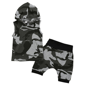 Sleeveless Camouflage Shorts Set