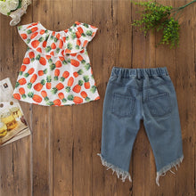 Load image into Gallery viewer, Pineapple Print Off Shoulder Top+Ripped Jeans Set