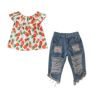 Pineapple Print Off Shoulder Top+Ripped Jeans Set