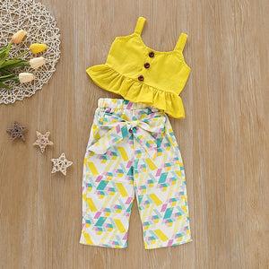 Yellow Ruffle Vest Set