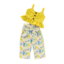 Load image into Gallery viewer, Yellow Ruffle Vest Set