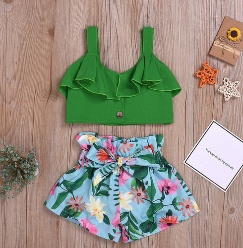 Strap Ruffled Tops W/Floral Print Bow Shorts Set