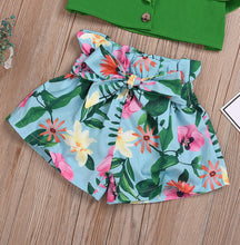Load image into Gallery viewer, Strap Ruffled Tops W/Floral Print Bow Shorts Set