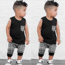Load image into Gallery viewer, Sleeveless Tank W/Plaid Shorts Summer Set Summer